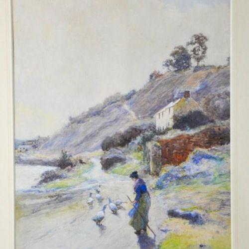 John White (1851 1933) : Fille oie au belvédère, aquarelle, signée et datée '97,…