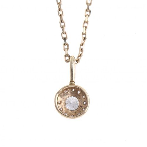 GOLD AND DIAMONDS PENDANT WITH CHAIN. Chain in 18kt yellow gold and pendant with…