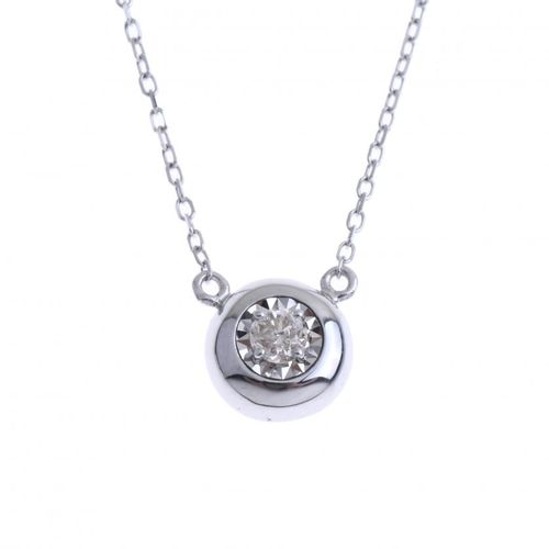 DIAMOND PENDANT WITH CHAIN. Chain in 18k white gold with a brilliant cut diamond…