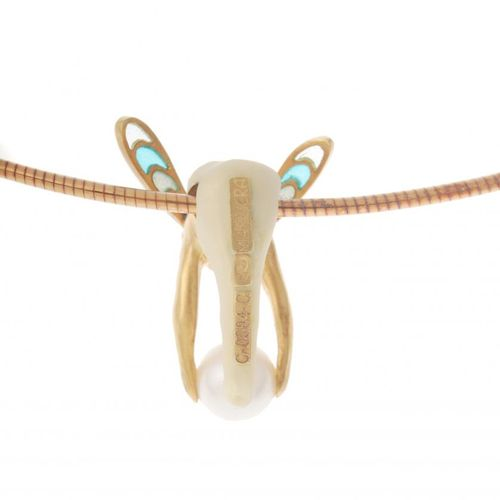 LLUIS MASRIERA (1872 1958) CHOKER WITH PENDANT. 18 kt gold with Modernist nymph …