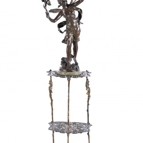 """AFTER AUGUSTE MOREAU'S MODELS. """"L'AURORE"""". Art Nouveau sculpture and pedestal.  …"""