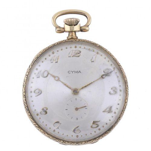 CYMA. POCKET WATCH. CYMA.  Boîtier en or 18kt.  Cadran beige avec chiffres arabe…