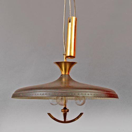 An aluminium ceiling lamp circa 1970