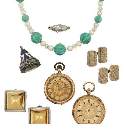 Groupe de bijoux et de montres, comprenant : un fermoir en diamant, le panneau e…