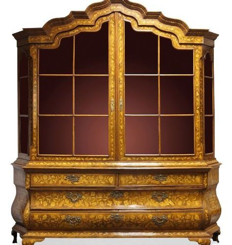 A Dutch floral marquetry display cabinet on chest, 19th Century, the shaped moul…
