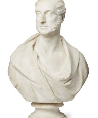 William Behnes, 1795 1864, a white marble portrait bust of a gentleman, dated 18…