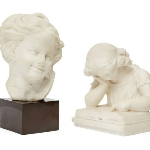 A French marble bust of a laughing boy, in the style of Jean Baptiste Carpeaux, …