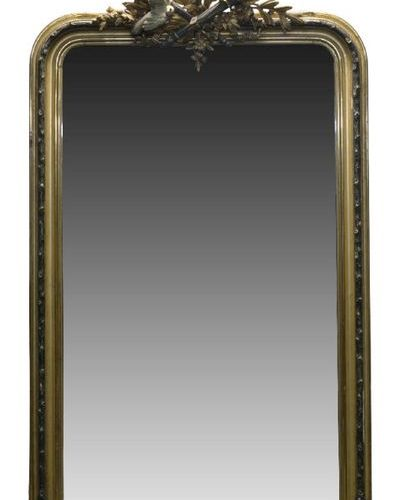 A large Continental carved gilt wood over mantle mirror, 19th century, of rectan…