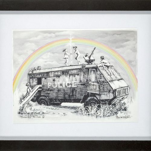 Banksy,  British b.1974    Police Riot Van (Dismaland Gift Print), 2015;    digi…