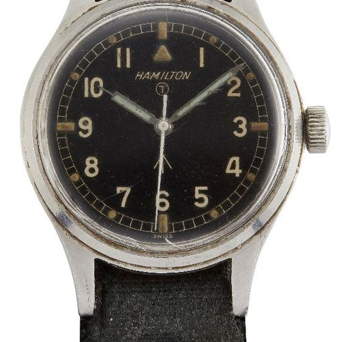 A stainless steel, British military issue wristwatch by Hamilton, the black dial…