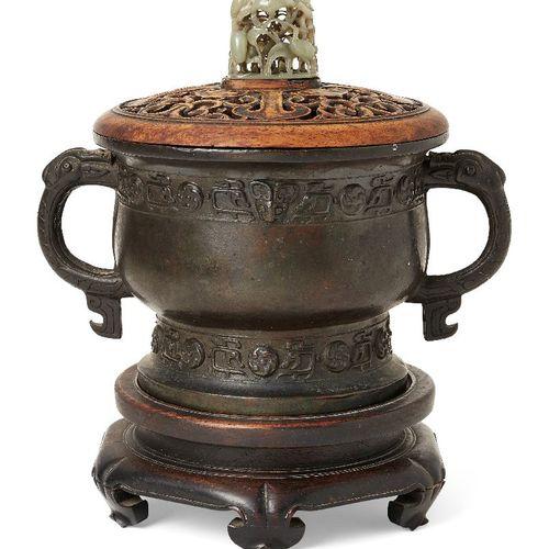Encensoir chinois en bronze archaïque, gui, dynastie Ming, moulé avec une bande …