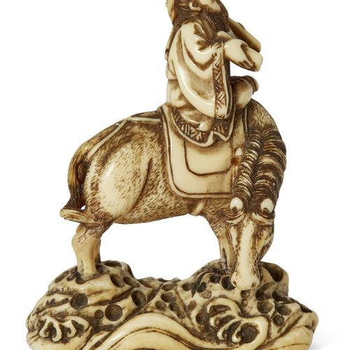 Netsuke japonais en ivoire par Minkoku, fin 18e début 19e siècle, sculpté de man…