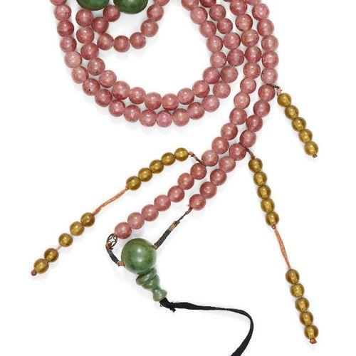 Collier de perles de quartz rose de la cour chinoise, chaozhu, début du 20e sièc…