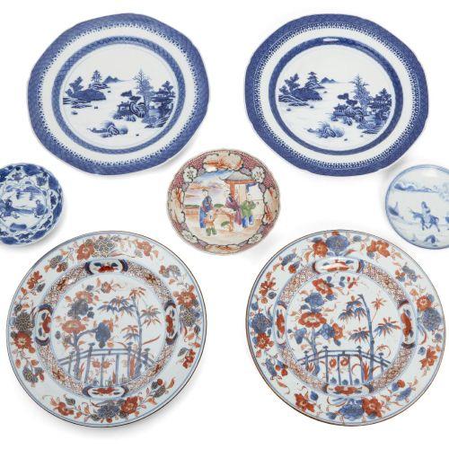 Un groupe d'assiettes et de soucoupes en porcelaine d'exportation chinoise, 18e …
