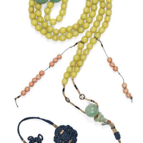 Un collier de perles en verre jaune de la cour chinoise, chaozhu, début du 20e s…