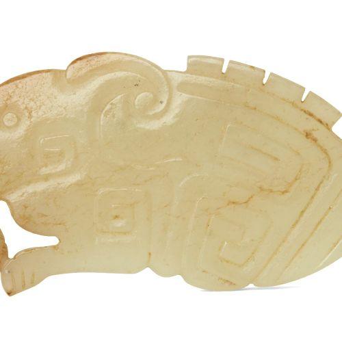 Rare pendentif chinois en jade jaune, dynastie des Zhou occidentaux, sculpté com…