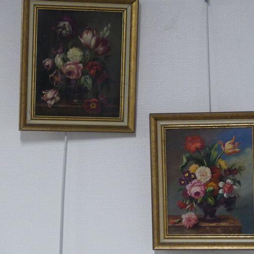 Deux natures mortes Deux natures mortes, huile sur toile. Dimensions : 27 x 22cm…