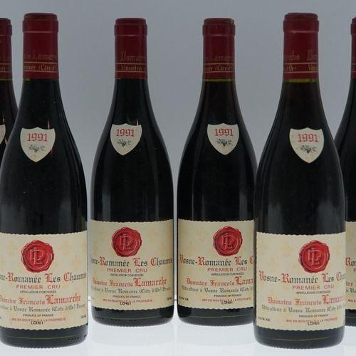 6 bouteilles de Vosne Romanée Les Chaumes 1er Cru 1991 domaine François Lamarche…