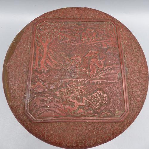 CHINE, Boîte couverte en laque rouge CHINE, Yunnan, XVIIème siècle  Boîte couver…