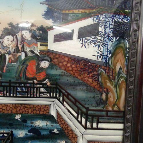 CHINE Fixé sous verre. CHINE. Famille dans leur palais, scène de pêche, fixé sou…
