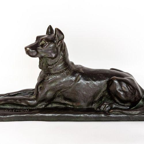 Dogue Charles GREMION (XIX XX). Dogue couché en bronze à patine noire. Signé déb…