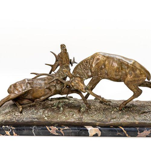 Combat de cerfs Guy (XIX XX). Combat de cerfs, bronze patiné vert, édition, vers…