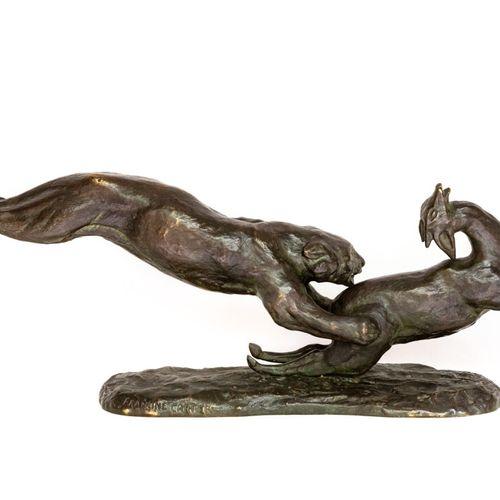Lionne et antilope Francine CARTIER (XX). Lionne et antilope en bronze à patine …