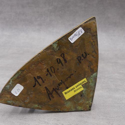 Georges AYVAYAN (né en 1946) Groupe en bronze à patine vert. HAuteur : 32.5 cm. …