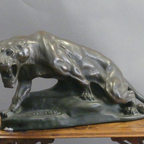 Thomas CARTIER Thomas CARTIER (1879 1941) (d'après), Tigre rugissant, plâtre pat…