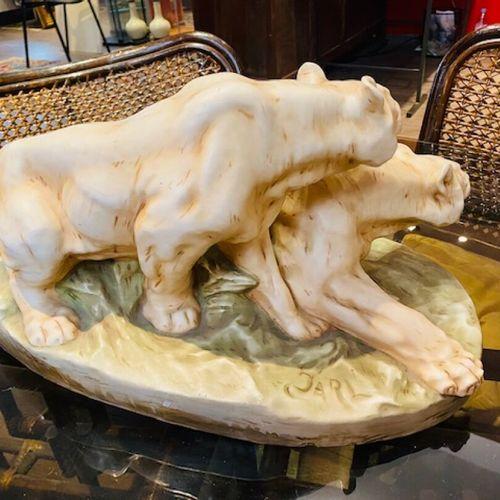 Otto JARL, Sculpture Otto JARL (1856 1915), Deux lionnes à l'affût . Moulage en …