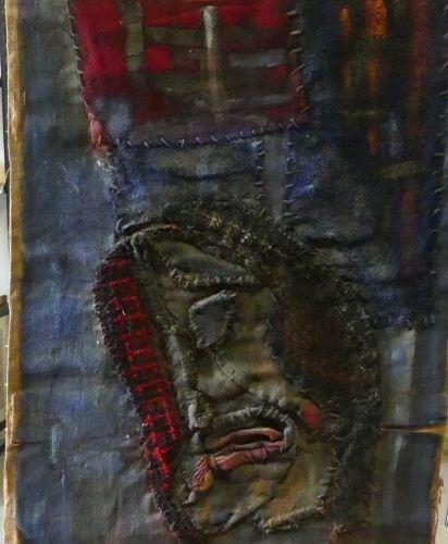 PORTRAIT AFRIQUE. Attribué à Jean Gillet, Portrait, laine nouée, Signé en bas à …