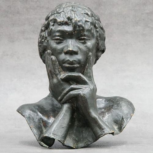 Herbert WARD (1863 1919), Bronze. Herbert WARD (1863 1919). Buste africain de fe…