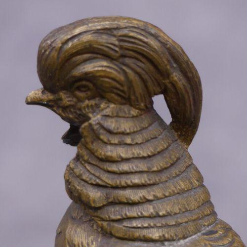 TRODOUX Henri Emile Adrien TRODOUX, Faisan, bronze à patine dorée soclée. Dimens…