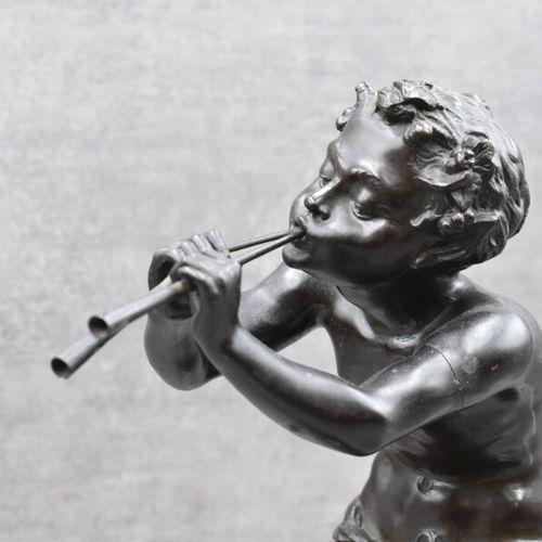 """Edouard DROUOT Edouard DROUOT (1859 1945) """"Le joueur de flûtes""""Bronze à patine b…"""