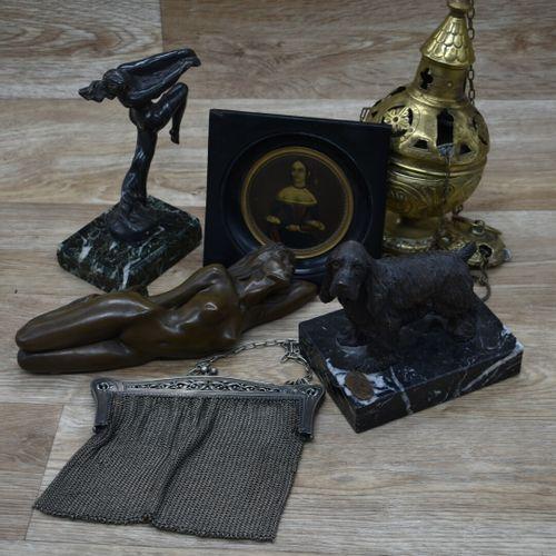 Lot d'objets en bronze dont MAX LE VERRIER, sculpture de danseuse, sculpture de …