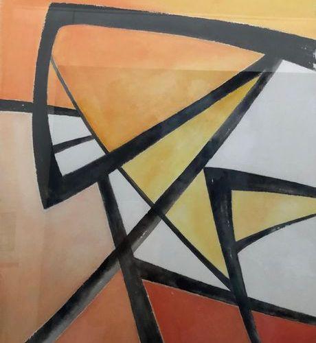 "Denis SCHMITT (Born in 1955) ""Composition 1"" Calligraphy gouache on Arches wove …"