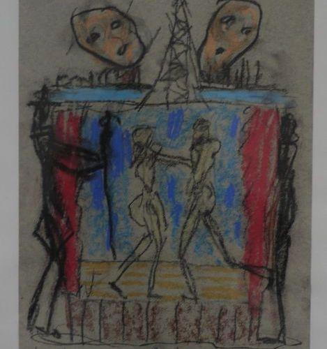 Egon Karl NICAULOS(1928 1988) PARIS 1988 Pastel on paper signed lower left, date…