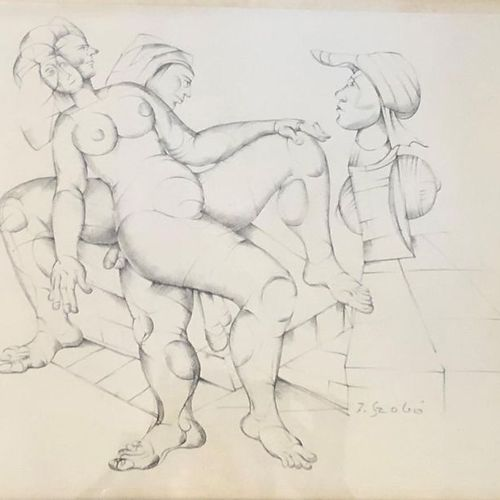 Joseph SZABO (1925 2010) Surrealist Nudes Pencil drawing on Canson, signed lower…