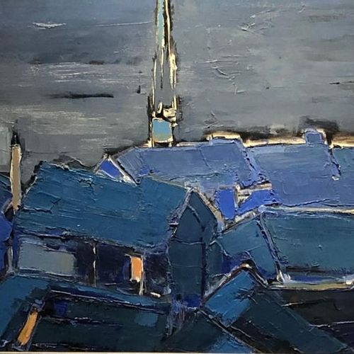 """Claire FONTAINE (1930 ?) """"Night effect on roofs"""". Oil on canvas.Signed lower lef…"""