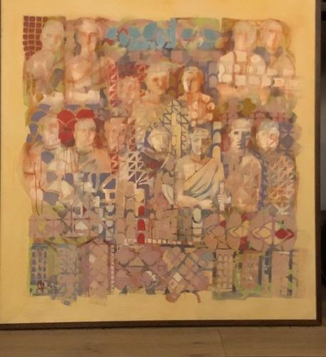 "Sallie WHISTLER MARCUCCI (Born 1940) ""CIRCO"" Oil on canvas.Signed, titled, dated…"