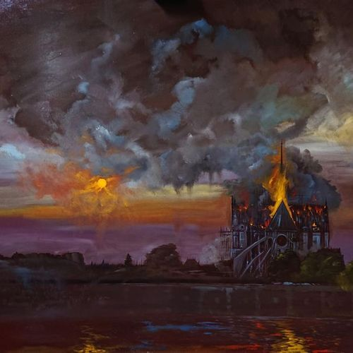 FLORENTVS (XXth) Notre Dame en feu. Oil on wood.Signed below at right. April 201…