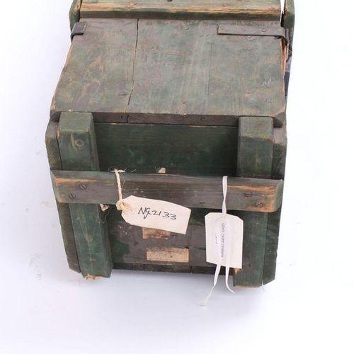 A wooden Dutch army chest, with white lettering Coffre en bois de l'armée néerla…