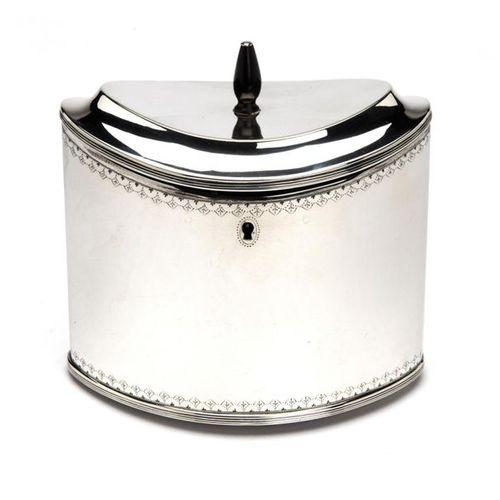A Dutch silver tea caddy A Dutch silver tea caddy, Plain navette shape, finely e…