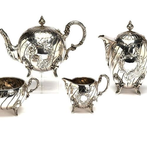 A four piece German silver tea and coffee service A four piece German silver tea…