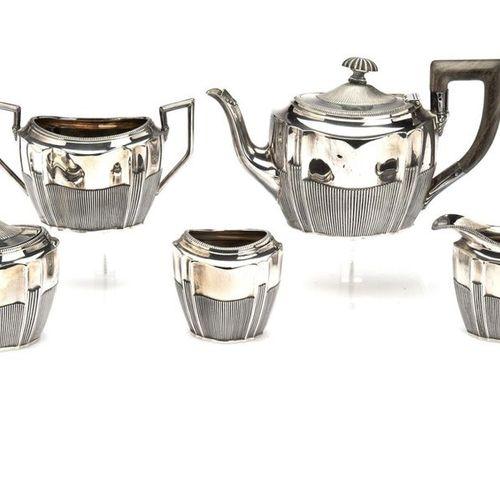 A Dutch silver five piece tea service, A Dutch silver five piece tea service,, A…