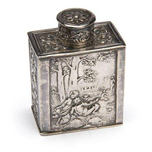 A Dutch silver miniature tea caddy A Dutch silver miniature tea caddy, Rectangul…
