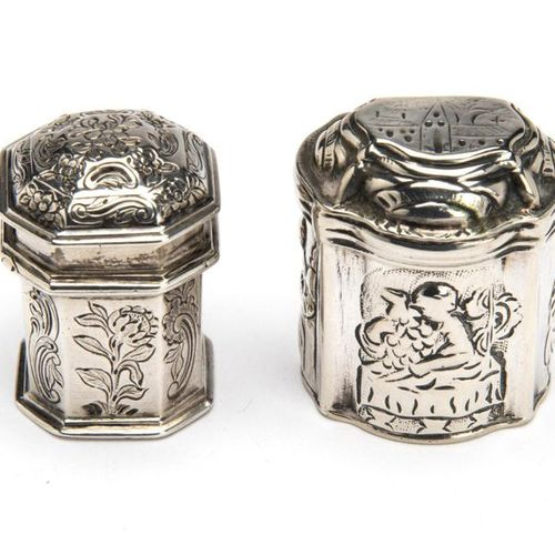 Two Dutch silver scent boxes Two Dutch silver scent boxes, Cartouche shaped, ric…