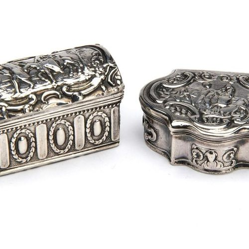 Two Dutch silver snuff boxes Two Dutch silver snuff boxes, Coffer form, embossed…