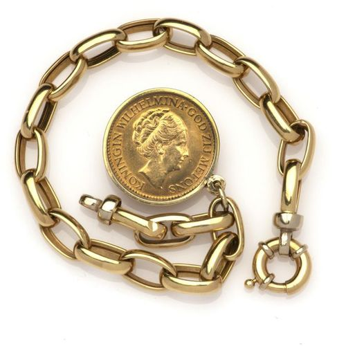 An 18k gold bracelet with coin pendant An 18k gold bracelet with coin pendant, T…