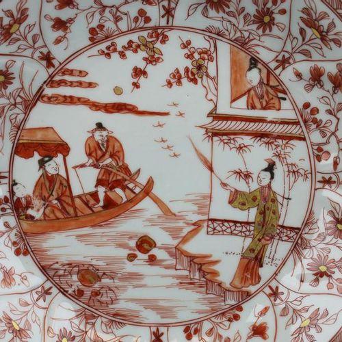 """Two """"milk and blood"""" plates with figures Deux assiettes """"lait et sang"""" avec des …"""